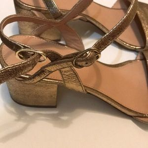 fcf6e8d0327 Strappy block-heel sandals metallic gold leather